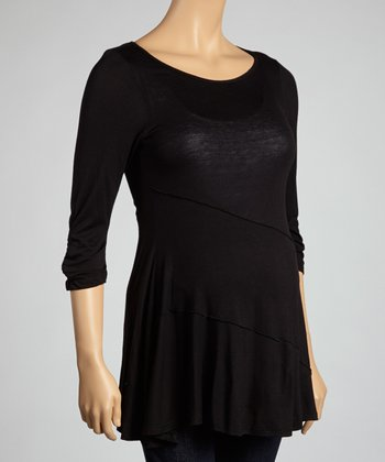 Black Semi-Sheer Maternity Top