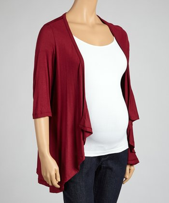 Wine Maternity Open Cardigan