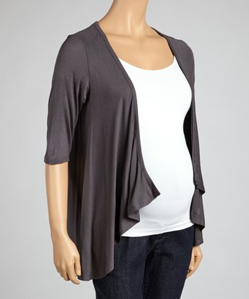 Charcoal Maternity Open Cardigan