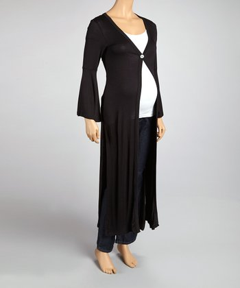 Black Button Maternity Long Cardigan
