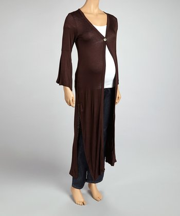 Brown Button Maternity Long Cardigan