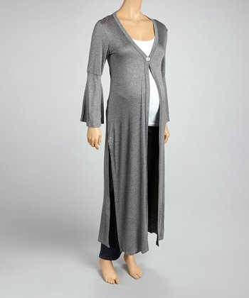 Charcoal Button Maternity Long Cardigan