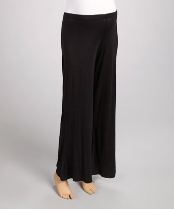 Black Maternity Wide-Leg Yoga Pants