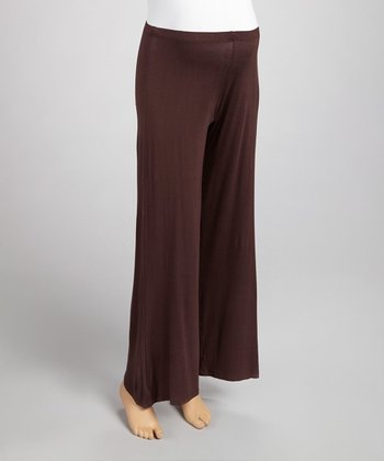Brown Maternity Wide-Leg Yoga Pants