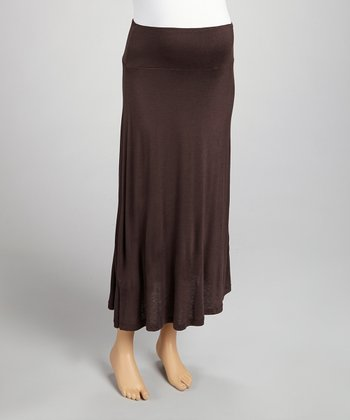 Brown Mid-Belly Maternity Maxi Skirt