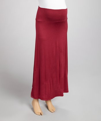 Wine Mid-Belly Maternity Maxi Skirt