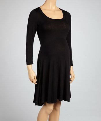 Black Maternity Long-Sleeve Dress