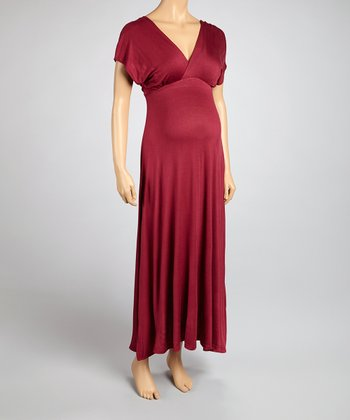 Wine Maternity Maxi Dress