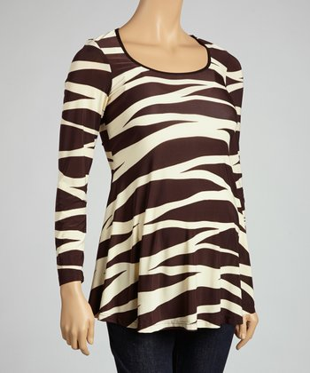 Brown & Cream Maternity Long-Sleeve Top