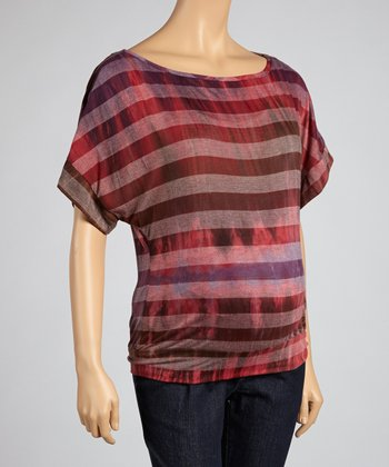 Burgundy Stripe Maternity Top