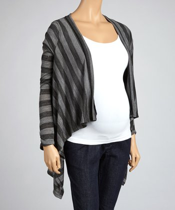 Gray Stripe Maternity Open Cardigan