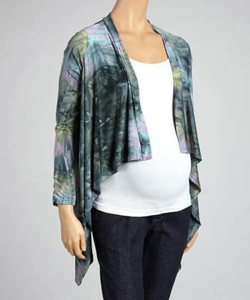 Gray Tie-Dye Maternity Open Cardigan