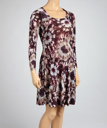 Wine Tie-Dye Maternity Dress