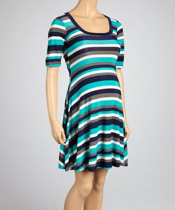 Blue Stripe Maternity Dress
