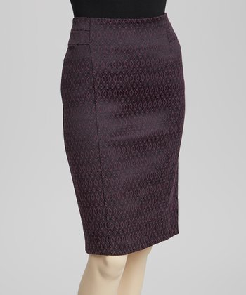 Black & Raspberry Diamond Pencil Skirt