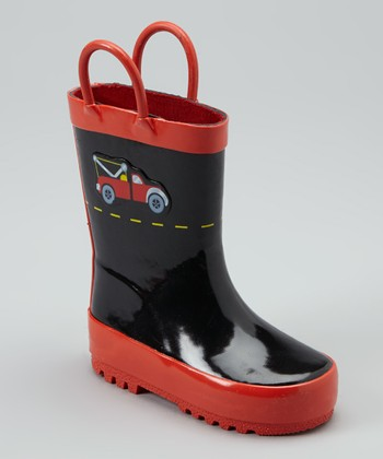 Red & Black Construction Rain Boot
