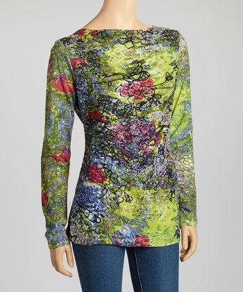 Green Floral Long-Sleeve Top