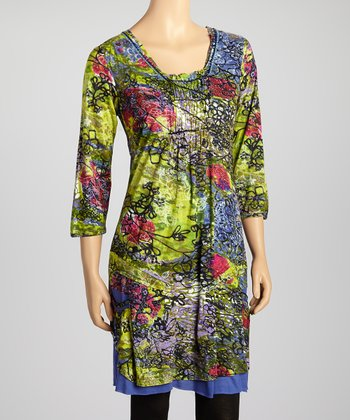 Green Floral Three-Quarter Sleeve Dress