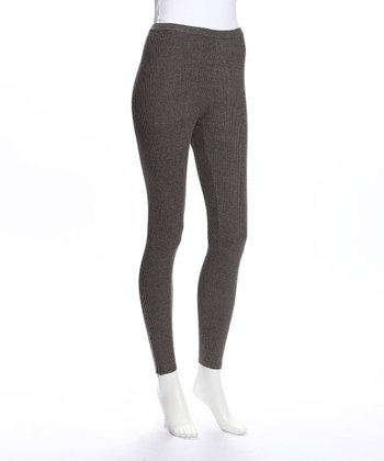 Charcoal Knit Ribbed Leggings