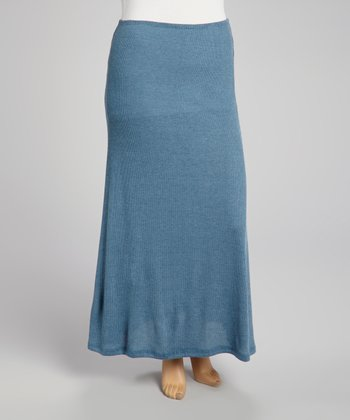 Heather Blue Ribbed Maxi Skirt - Plus