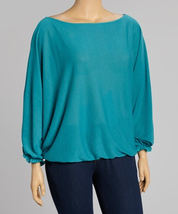 Teal Boatneck Dolman Top - Plus