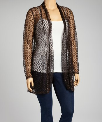 Dark Brown Lace Open Cardigan - Plus