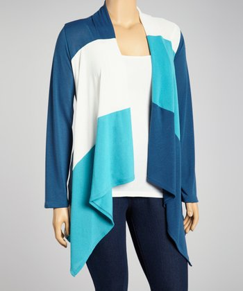 Teal & Ivory Color Block Open Cardigan - Plus