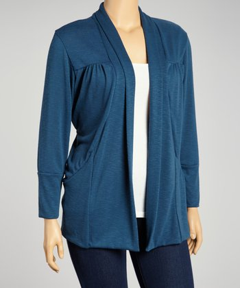 Blue Ruched Open Cardigan - Plus