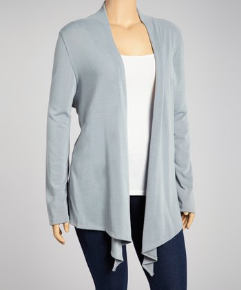 Silver Open Cardigan - Plus