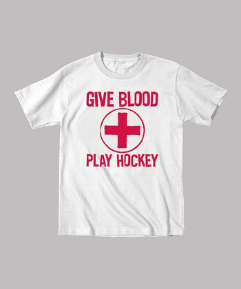 White 'Give Blood Play Hockey' Tee - Toddler & Boys