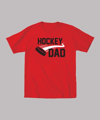 Red 'Hockey Dad' Puck Tee - Men