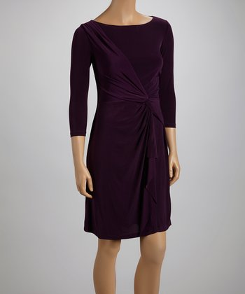 Eggplant Twist Three-Quarter Sleeve Dress