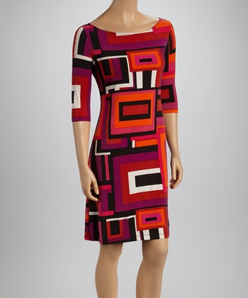 Fuchsia & Orange Rectangle Shift Dress