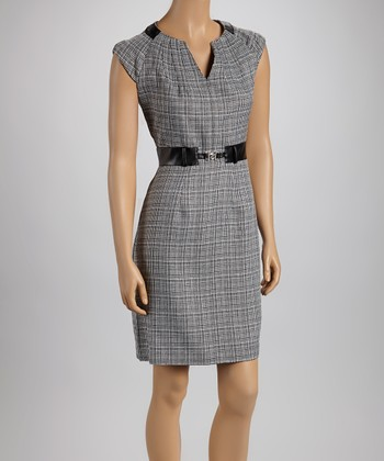 Black & White Plaid Cap-Sleeve Dress