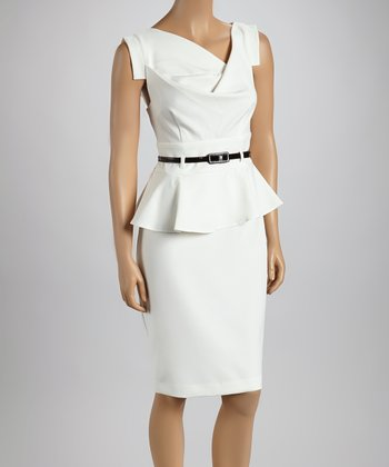 Ivory Belted Peplum Dress