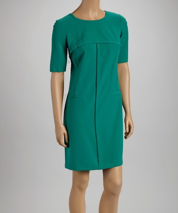 Emerald Half-Sleeve Shift Dress