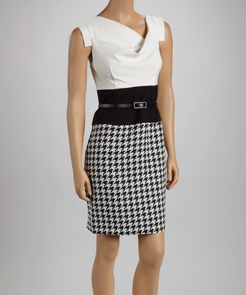 Ivory & Black Houndstooth Belted Cap-Sleeve Dress