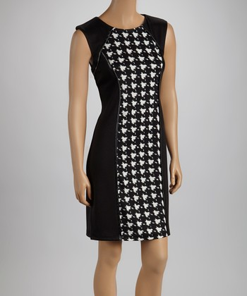 Cream & Black Houndstooth Sheath Dress