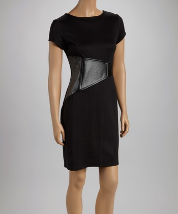 Black Triangle Short-Sleeve Dress