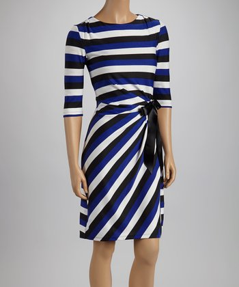 Cobalt & Ivory Stripe Side Bow Three-Quarter Sleeve Dress