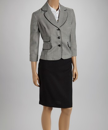 Black & White Plaid Pocket Blazer & Skirt