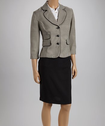 Nude Plaid Pocket Blazer & Black Skirt