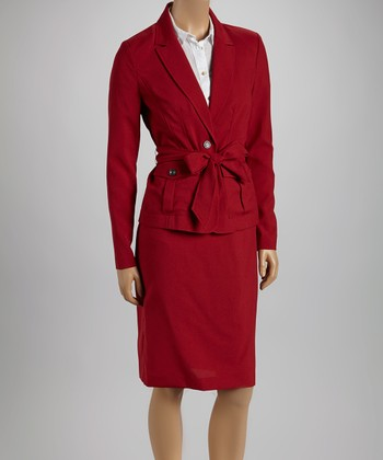 Red Tie Blazer & Skirt