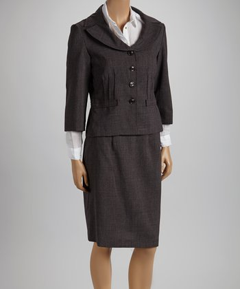 Dark Gray Round Collar Blazer & Skirt