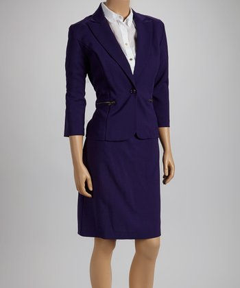 Eggplant Zipper Blazer & Skirt