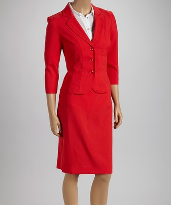 Red Double Seam Blazer & Skirt