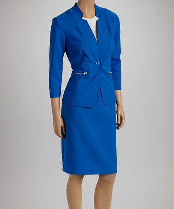 Cobalt Zip Pocket Blazer & Skirt
