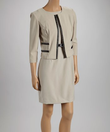 Oatmeal Contrast Button Blazer & Sheath Dress