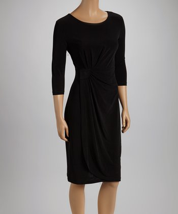Black Side Cinch Three-Quarter Sleeve Dress