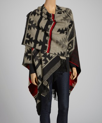 Gray & Red Tribal Fringe Shawl